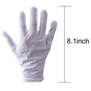 White Gloves, Zealor 12 Pairs Soft Cotton Gloves, Coin Jewelry Silver Inspection Gloves, Stretchable Lining Glove, Medium Size (Color: White, Tamaño: Medium)