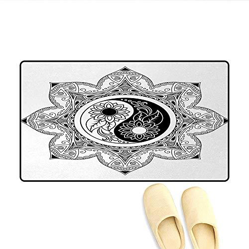 Door Mats,Boho Ying Yang Symbol in a Flower Zen Hippie Design Floral Mandala Pattern,Bath Mat Bathroom Mat with Non Slip,Black and White,Size:20