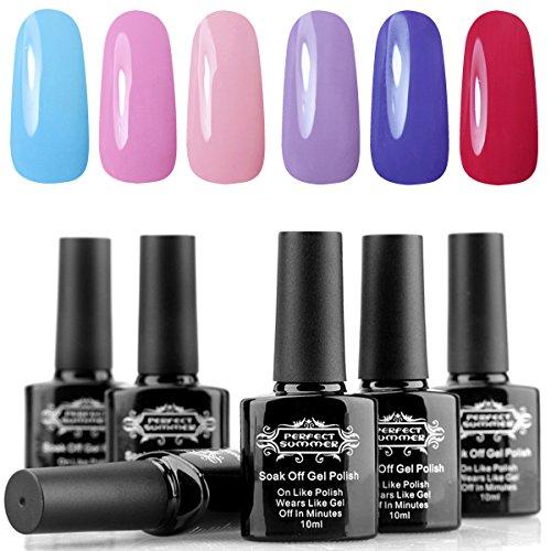 Perfect Summer Gel Nail Polish Soak Off 6 Colors Gel Varnish