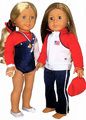 Costume Day Ariel Modern (American Doll Clothes for Girls | Red White Blue USA Olympic Gymnastics Warm Up Set with Accessories | by DOLL CONNECTIONS | 18 inch Doll Clothes Done Right! (7 Piece)