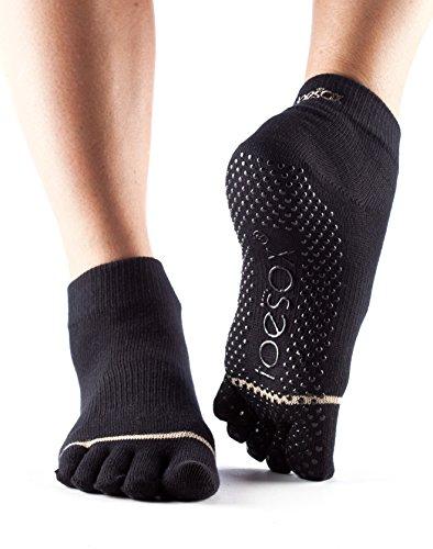toesox Full Toe with Grip Yoga/Pilates Toe Socks, Black, Small
