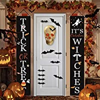 Halloween Decorations Outdoor – Trick or Treat & It's October Witches Halloween Signs and 12 PCS 3D Bat Stickers for Front Door or Indoor Home Decor, Halloween Porch Banners Halloween Welcome Signs
