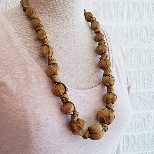 Gold-Tone Silk Fabric Necklace - American Made