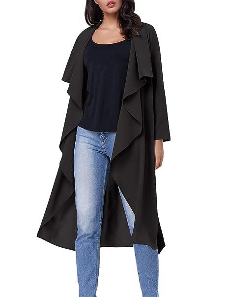 6491d372d3 Kate Kasin Flowy Trench Coat Flowy Cardigan with Pocket(XXL Black ...