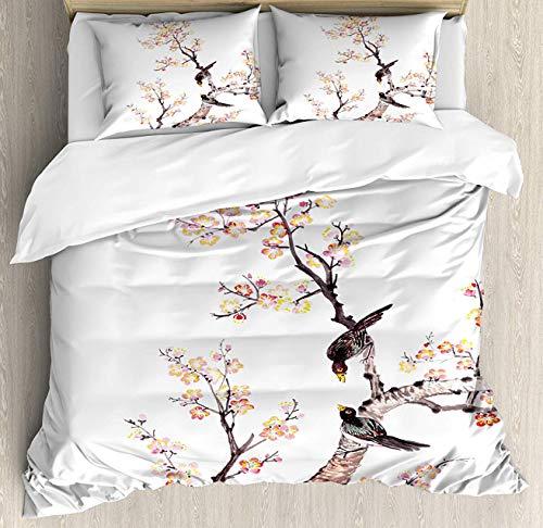 Art Duvet Cover Set Full Duvet, Traditional Chinese Paint of Flowers Plum Blossom Birds on Tree Romance Print, Decorative 3 Piece Bedding Set with 2 Pillow Shams, Light Yellow Brown