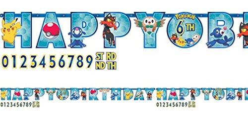 Boys Girls Birthday Party Jumbo Personalised Banner Bunting Garland Celebration Pokemon Pikachu Tableware Decorations Accessories (Jumbo ()