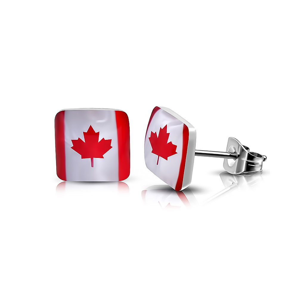 Pure 316 - 7mm | Surgical Stainless Steel 316L Flag Of Canada Square Stud Earrings Leviev Ltd. JK-LEB403