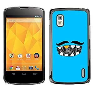 MOBMART Carcasa Funda Case Cover Armor Shell PARA LG Nexus 4 E960 - The Mustache And His Dentition