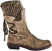 Lace Up Back Women's Snow Boots, Outdoor Anti-Slip Waterproof Knee High Winter Suede Cotton Warm Fur Lined