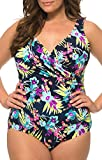 Caribbean Sand Plus Size Surplice Tank Style One Piece Swimsuit With Control Power Mesh Lining Multicolored 18