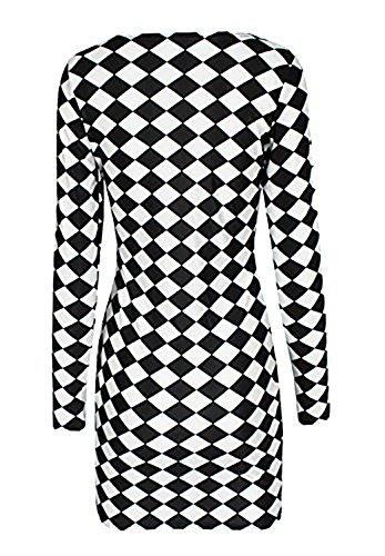 Robe Moulante Motif Damier- Noir et Blanc