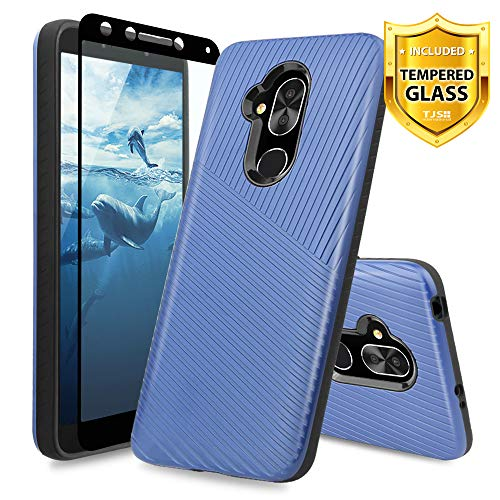 (TJS Alcatel 7/Alcatel Revvl 2 Plus Case, with [Full Coverage Tempered Glass Screen Protector] Hybrid Shock Absorbing Armor Textured Embossed Lines Hard Plastic PC TPU Protector Phone Case (Drak Blue))