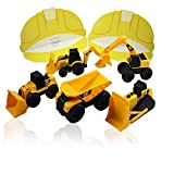 Construction Party Bundle - CAT Mini Machine Caterpillar Truck Toy Cars Set of 5, Dump Truck, Bulldozer, Wheel Loader, Excavator and Backhoe Free-Wheeling Vehicles & 12 Pretend Play Visor Caps