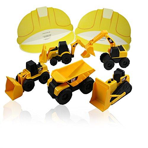 Construction Party Bundle - CAT Mini Machine Caterpillar Truck Toy Cars Set of 5, Dump Truck, Bulldozer, Wheel Loader, Excavator and Backhoe Free-Wheeling Vehicles & 12 Pretend Play Visor Caps
