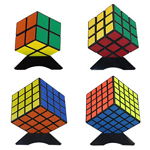 Magic Speed Cube Puzzle Bundle Pack(2x2x2,3x3x3,4x4x4,5x5x5) with Extra 4xDisplay Stand and 4xPortable Bag