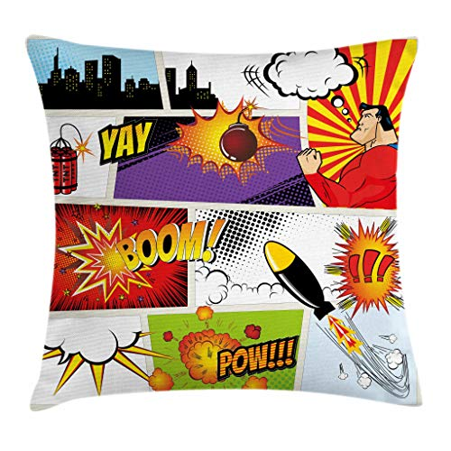 """Ambesonne Superhero Throw Pillow Cushion Cover, Retro Comic Book Speech Bubbles Mock-Up Sound Effects Anger Brave Graphic, Decorative Square Accent Pillow Case, 20"""" X 20"""", Red Purple"""