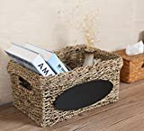 Woven Wicker Seagrass Storage Basket Tote with Handles and Chalkboard Label-17 X 13 Inch
