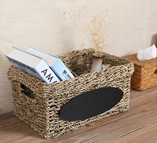 Wicker Office Storage (Woven Wicker Seagrass Storage Basket Tote with Handles and Chalkboard Label-17 X 13 Inch)