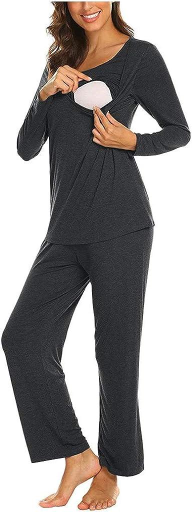 SUNNSEAN Pyjama Femme Enceinte Pyjama dallaitement Femme en Coton Deux Pi/èces V/êtements De Nuit Manche Longue Col Rond Grossesse Pyjama Allaitement pour Tout Les Saisons