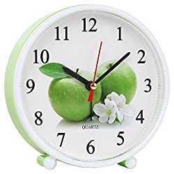 Home-X Cheery Jumbo Green Apple Standalone or Wall Mount Analog Quartz Alarm Clock
