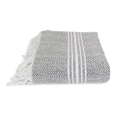 "Salbakos, Incredibly Soft, Turkish Peshtemal Fouta Towel, Eco-Friendly and Oeko-Tex Certified 100% Cotton, Herringbone for Spa Bath Pool Sauna Picnic Throw Blanket (40""x70"", Gray)"