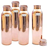 900ml / 30oz - Set of 4 - Prisha India Craft Pure Copper Water Bottle for Health Benefits - Water Bottles | Joint Free, Handmade - Christmas Gift