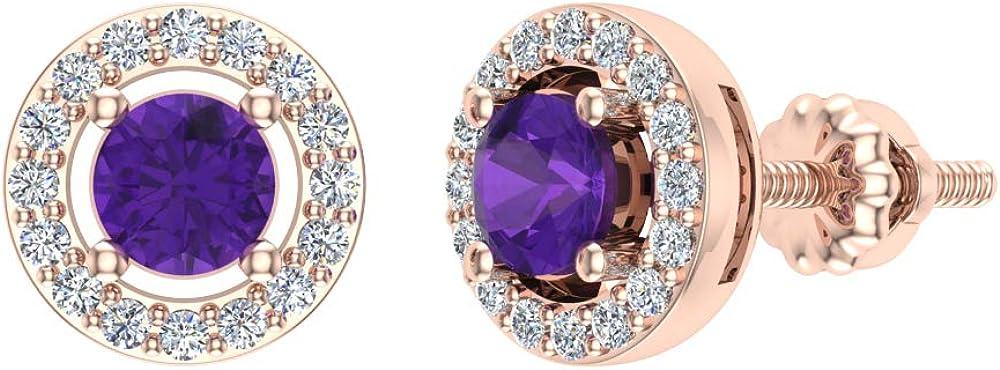 February Birthstone Amethyst Diamond Earrings 14K Gold Halo Studs