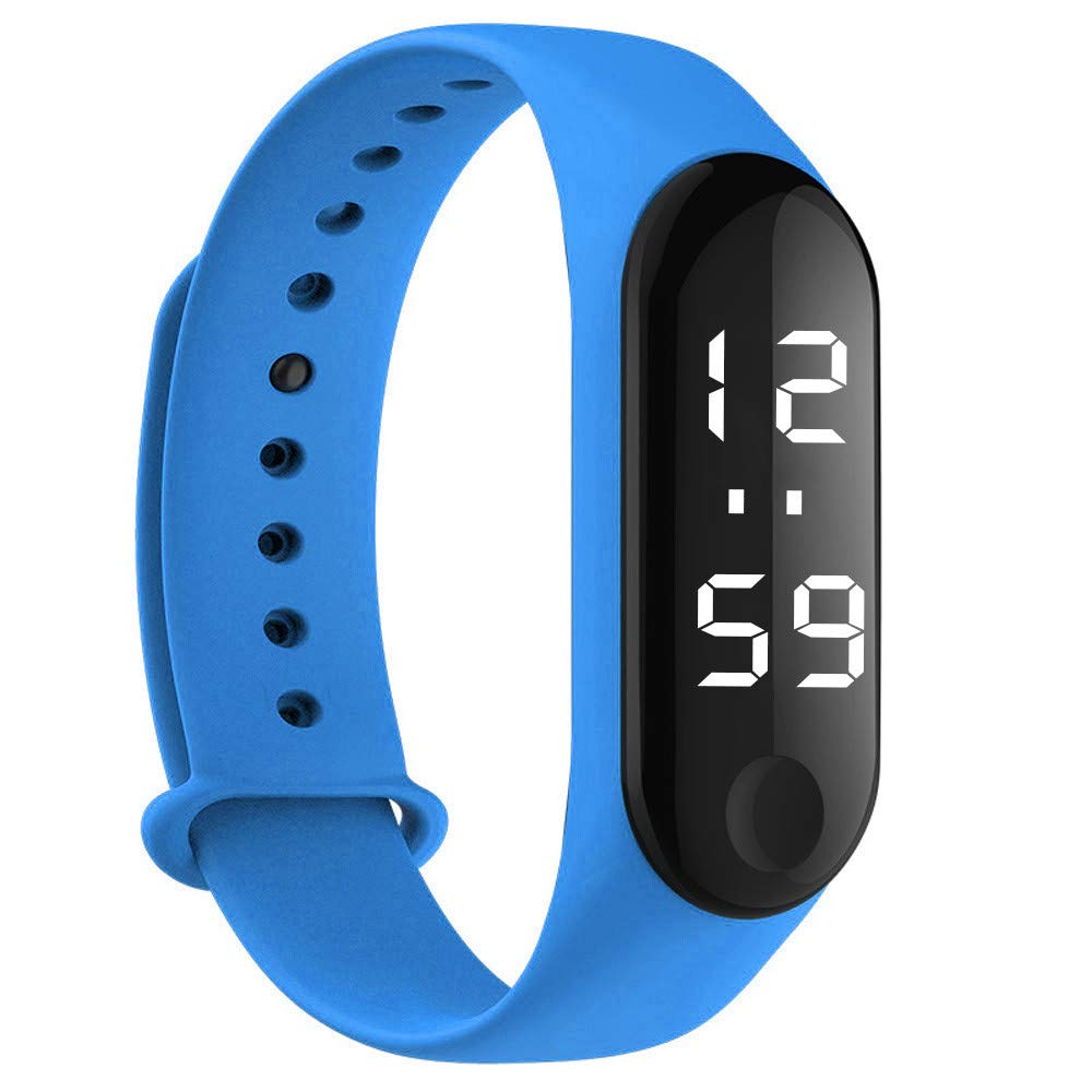 Men's Watches,Fxbar Fashion Digital LED Sports Watch Unisex Silicone Band Wrist Watches Candy Colors Smartwatch(Blue)