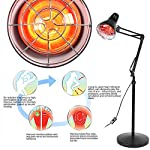 Infrared Lamp, Red Light Therapy Heat Lamp Portable Heating Infrared Floor Light with Rolling Wheels and Adjustable Gooseneck for Body Joint Muscle Pain Relief