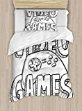 Boy's Room Duvet Cover Set Twin Size by Lunarable, Doodle Style Video Games Typography Design with a Controller Sketch Artwork, Decorative 2 Piece Bedding Set with 1 Pillow Sham, Black White