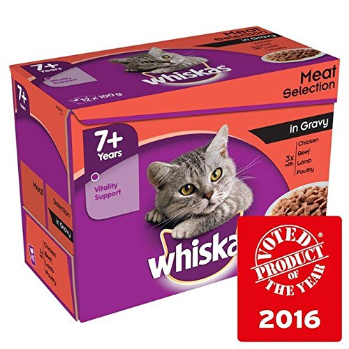 Whiskas 7+ Cat Pouches Meat in Gravy 12 x 100g (Pack of 6) by Whiskas