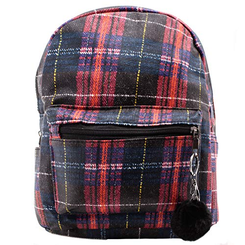 - Plaid Mini Backpack for Women - Red Plaid Leather Backpacks - Various Colors