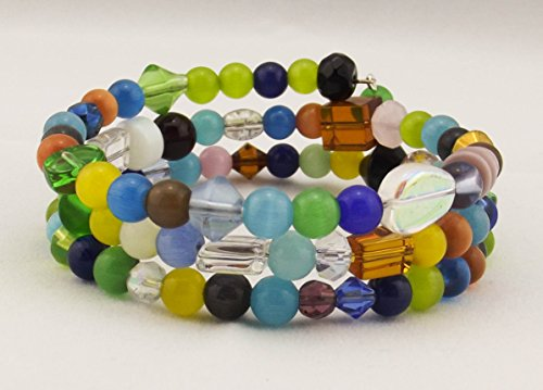 (Wrap Bracelet - Multi-Colored Glass and Cat's Eye Beads)