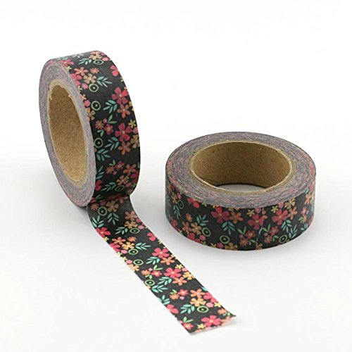 Black Sakura Floral Washi Decorative Paper Tape susb