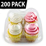 Chefible 4 Cupcake Container, Cupcake Box, High Dome (200)
