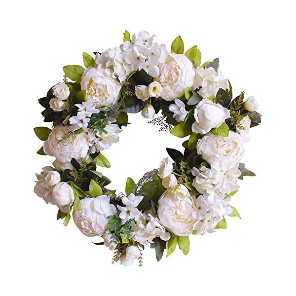 """FUNME Artificial White Peony Wreath Welcome Front Door Wreath Hydrangea Wreath for Indoor Outdoor Wall Home Decor (16"""" White Peony)"""