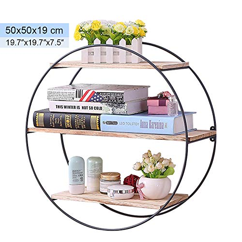 Unimore Round Wall Shelf Rustic Wall Book Shelf Floating Shelves Decorative Shelf for Dinning Room Living Room Restaurant Office (Wall Bookshelf Circle)