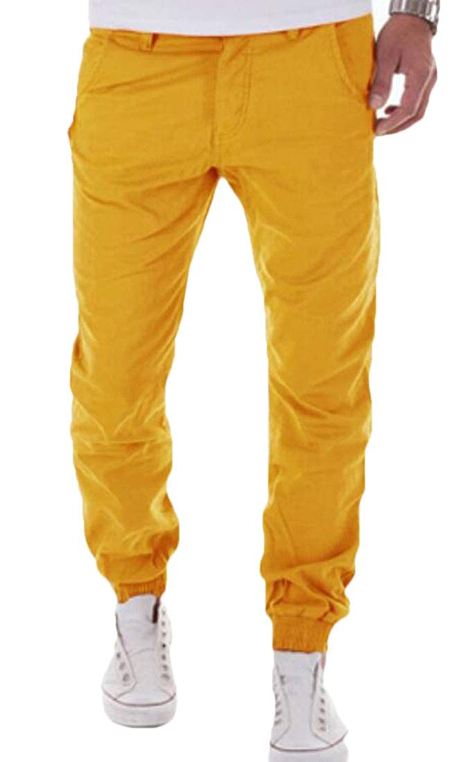 GRMO Men Casual Joggers Athletic Cargo Pants Twill Pockets
