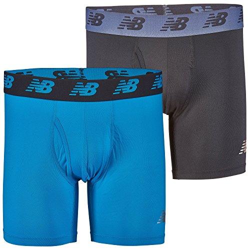 New Balance Mens Premium Performance 6 Boxer Brief Underwear (Pack of 2), Black/Polaris, Medium (32-34)