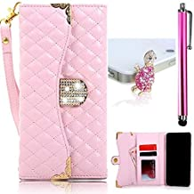 Vandot Iphone 6Plus/6S Plus 5.5 inch Case,3 in 1 Set Premium Flip Folio Magnetic Closure PU Leather Cover Pattern Diamond Shinning Wallet Case with ID Card Holders and Long-chain+Turtle Anti Dust Plug+Stylus Pen-Pink