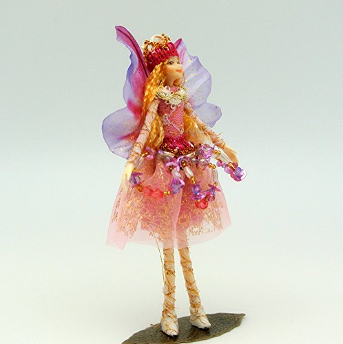 Handmade PINK GEM Fairy Doll - with Wings, Jewels and Crown (Pink Wings Silks Fairy)