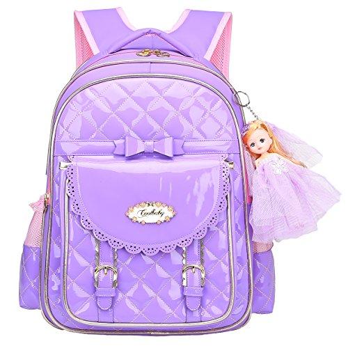 Bookbag for Girls,Waterproof PU Leather Kids Backpack Cute School Bookbag for Girls (Purple, -
