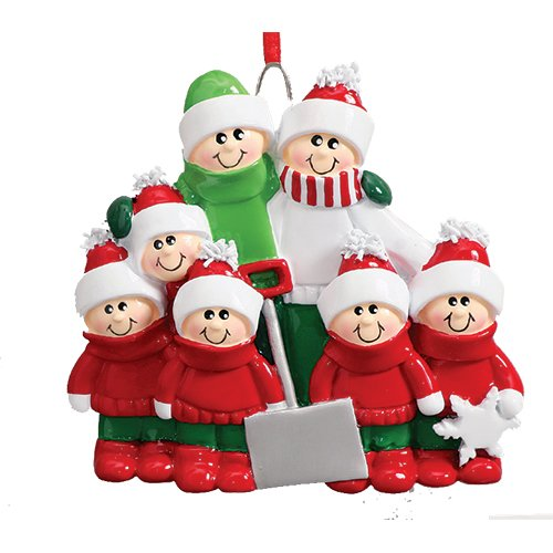 (Personalized Snow Shovel Family of 7 Christmas Tree Ornament 2019 - Cute Parent Child Green Winter Cloth Hold Spade Tradition Gift Year Hug Gift Kid Shoveling - Free Customization (Seven))