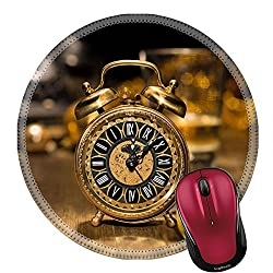 Liili Round Mouse Pad Natural Rubber Mousepad IMAGE ID 33511300 Composition with vintage clock showing five to midnight and an old phone Happy New Year 2015