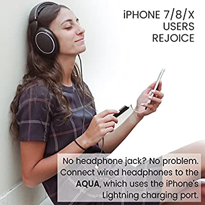 Blucoil AQUA Portable Battery-Free Lightning Headphone Amplifier and DAC for iPhone X iPhone 8 iPhone 7, Jet Black