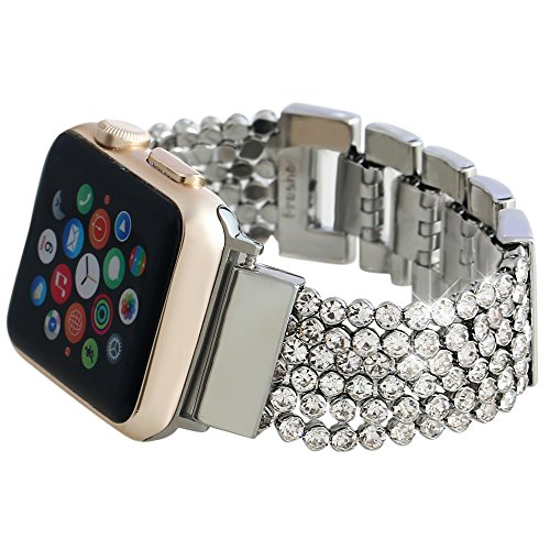 Apple Watch Bands 38mm, Soft CZ Crystal Chain Strap Replacement Band With Adjustable Magnet Metal Clasp for iWatch Series 0 1 2 and Version 2015 2016, Silver