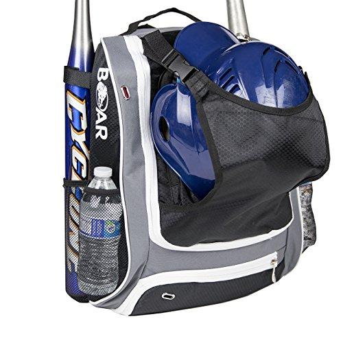 Boar Youth Baseball Bag – Softball T-Ball Catcher Backpack with Front Helmet Holder | Fits 2 Bats, 2 Water bottles, Shoes, Glove | Multi-use for Baseball, Football, and Soccer