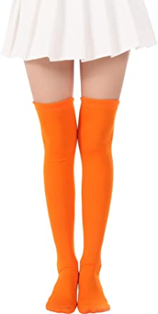 Over Knee Long Stockings Solid Thigh High Socks and Dots Tights High Socks Opaque Costume Stockings Cosplay Knee-High Socks