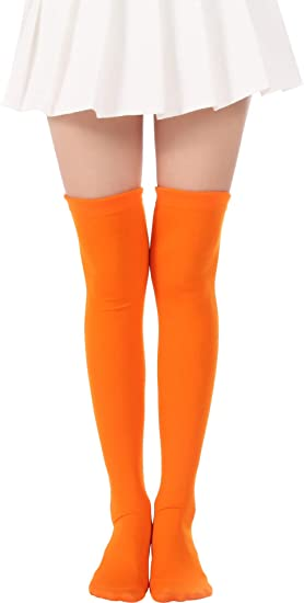 8e0b1a180 Over Knee Long Striped Stockings Saint Patrick s Day Socks Costume Thigh  High Tights(02 Orange