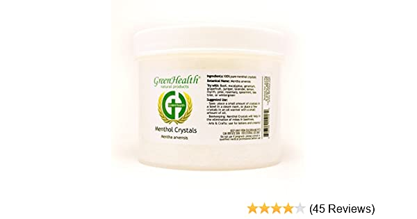 Greenhealth 16oz 100 Pure Menthol Crystals Packaged In A White Plastic Jar Melting Point Is Approximately  Degrees F Expedited Shipping